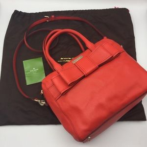 🌹 KATE SPADE Red LEATHER Dr Crossbody BAG Purse